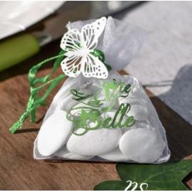 Sachet à dragées La vie est belle blanc vert les 6