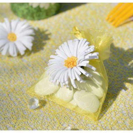 Sachet à dragées marguerite organdi jaune 10 cm les 4