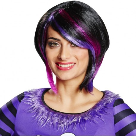 Perruque courte noire avec mèches roses et violettes femme