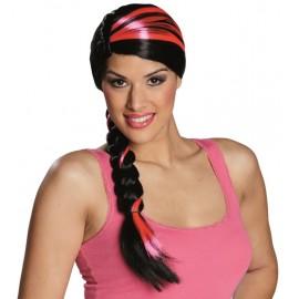 Perruque noire avec tresse à mèches roses femme