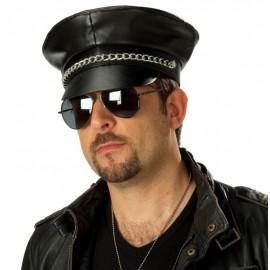 Casquette noire motard adulte