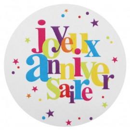 Stickers anniversaire festif 4 cm les 50