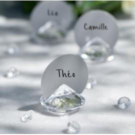 Marque-place diamant transparent les 4