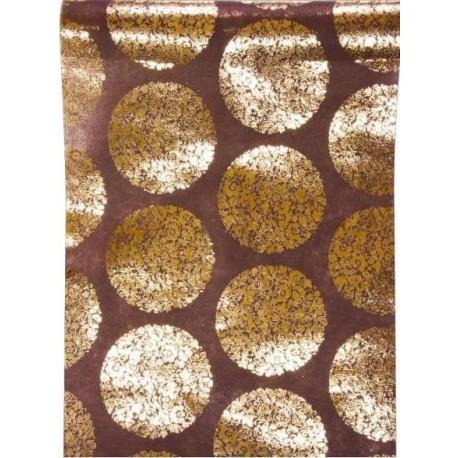 Chemin de Table Chocolat Fleur Metallise