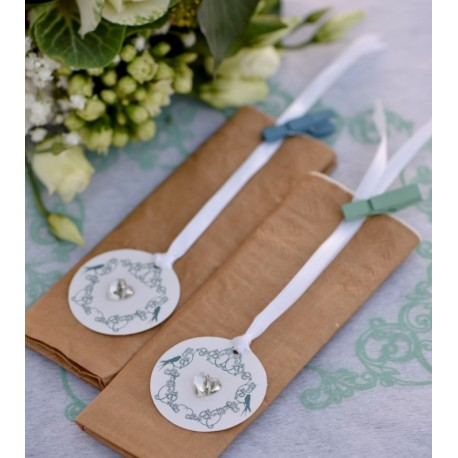 Etiquette vintage with love menthe carton avec ruban les 12