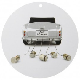 Etiquette car just married carton 4.7 cm les 10