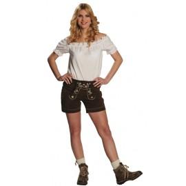 Déguisement short bavarois cuir brun femme