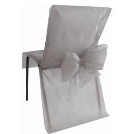 Housse de chaise intissé gris avec noeud les 4
