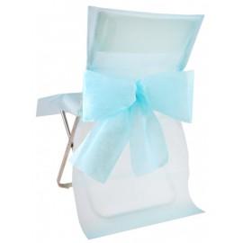Housse de chaise intissé bleu ciel avec noeud les 4