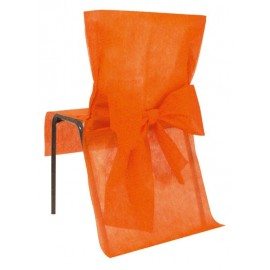 Housse de chaise intissé orange avec noeud les 4