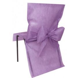 Housse de chaise intissé parme avec noeud les 4