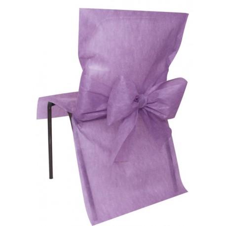 housse de chaise intiss parme avec noeud les 4 housses de chaises. Black Bedroom Furniture Sets. Home Design Ideas