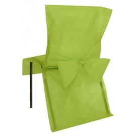 Housse de chaise intissé vert avec noeud les 4