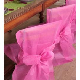 Housse de chaise intissé fuchsia avec noeud les 4