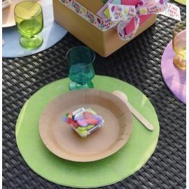 Set de table rond vert amande en intissé 34 cm les 50