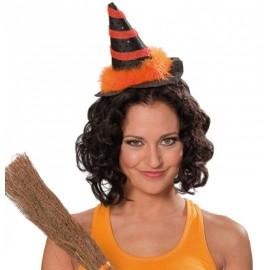 Mini chapeau sorcière noir orange femme