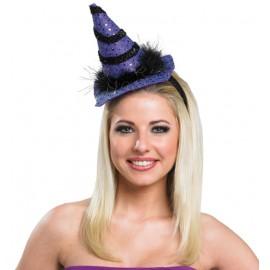 Mini chapeau sorcière violet noir femme