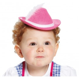 Mini chapeau tyrolien rose enfant