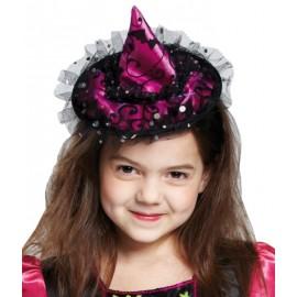 Mini chapeau sorcière fuchsia fille