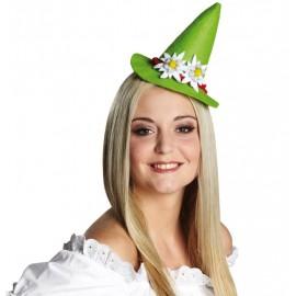 Mini chapeau tyrolien vert femme