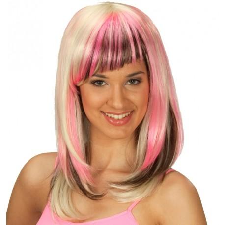 Perruque blonde avec mèches brunes et roses femme
