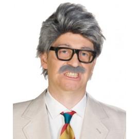 Perruque grise avec moustache homme