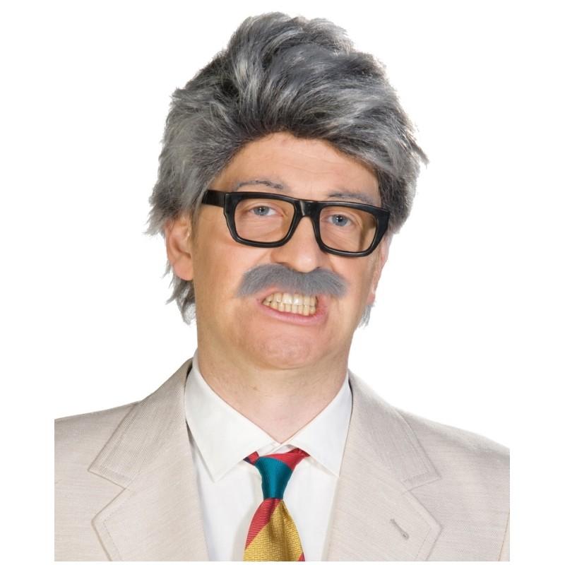 Perruque grise avec moustache homme Perruques