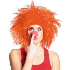 Perruque clown orange adulte