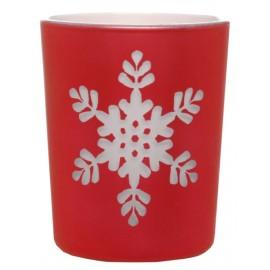 Photophores flocon de neige en verre rouge les 12