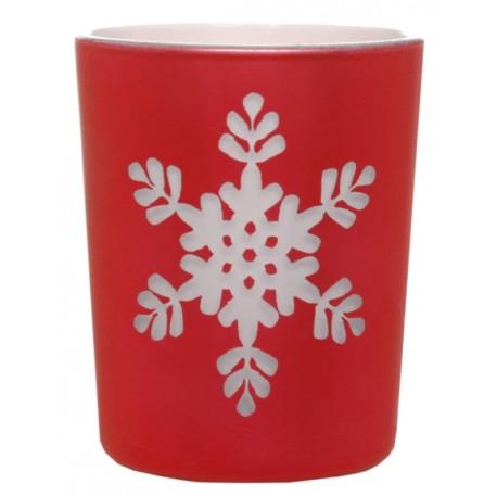 Photophore flocon de neige en verre rouge les 12