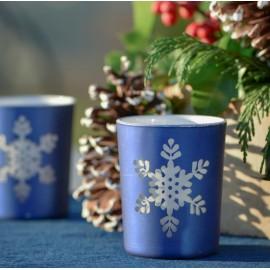 Photophores flocon de neige en verre bleu les 12