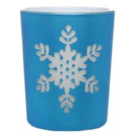 Photophore flocon de neige en verre bleu les 12