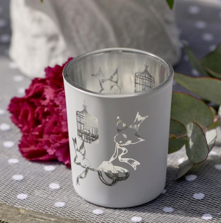 photophore cage et oiseaux en verre les 12 photophore mariage d co. Black Bedroom Furniture Sets. Home Design Ideas