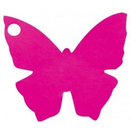 Etiquettes papillon fuchsia les 10