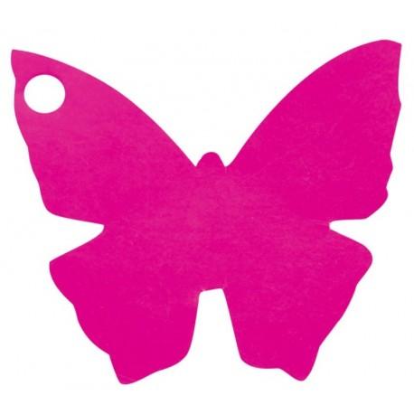 Etiquette papillon fuchsia les 10