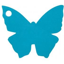 Etiquettes papillon turquoise les 10