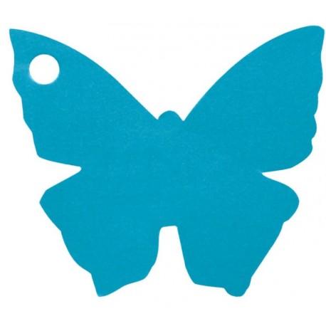 Etiquette papillon turquoise les 10