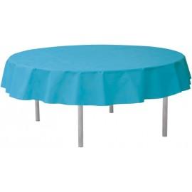 Nappe ronde turquoise en intissé opaque 240 cm