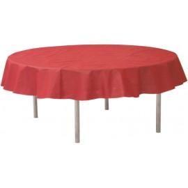 Nappe ronde rouge en intissé opaque 240 cm