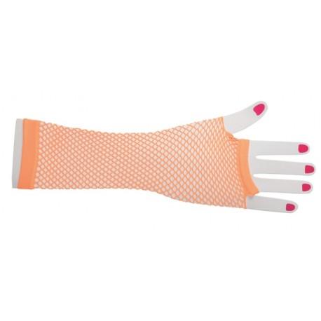 Mitaines résille fluo orange longues femme
