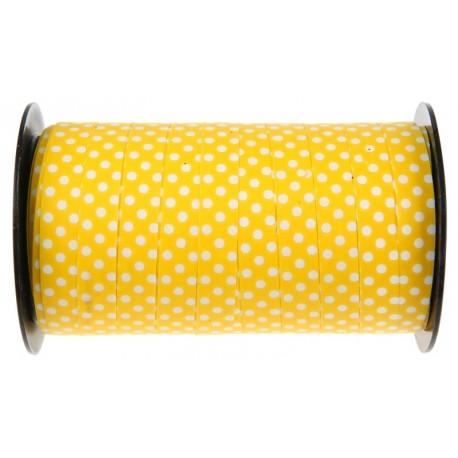 Bolduc jaune à pois 10 mm x 50 M