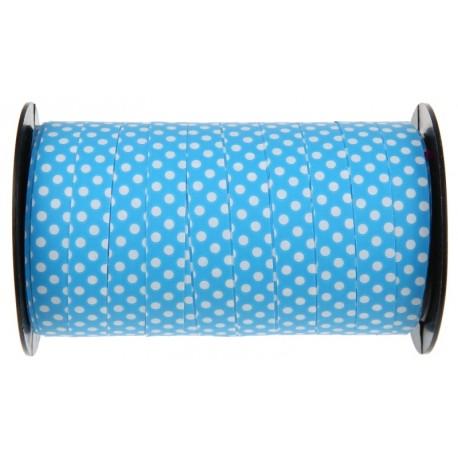 Bolduc bleu à pois 10 mm x 50 M