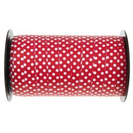 Bolduc rouge à pois 10 mm x 50 M