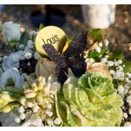 Papillon noir pailleté sur pince les 4