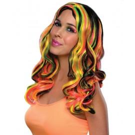 Perruque noire avec mèches fluo multicolores femme