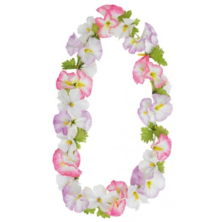 Collier hawaïen de fleurs avec feuilles