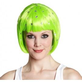 Perruque courte fluo vert avec strass femme