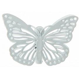 Papillons métal blanc sur pince les 4