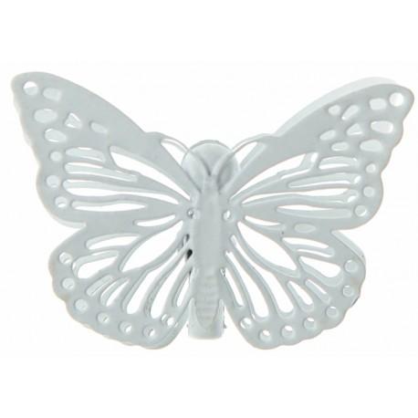 Papillon métal blanc sur pince les 4
