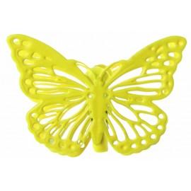 Papillons métal jaune sur pince les 4